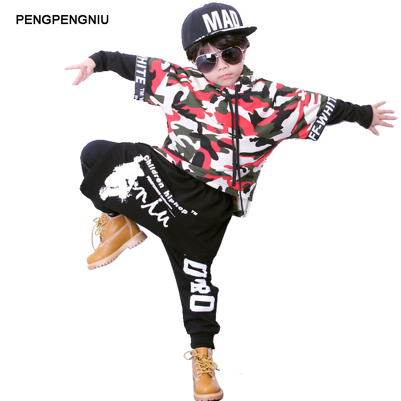 PENGPENGNIU Street Dance Clothing for Kids Three Piece Suit for Boys Sports Clothes Set Children Cotton Streetwear Hoodie Pants