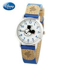 Disney бренда Микки детские часы Мальчики девочки 30 м водонепроницаемый кварцевые часы Холст дети часы Аниме Мультфильм