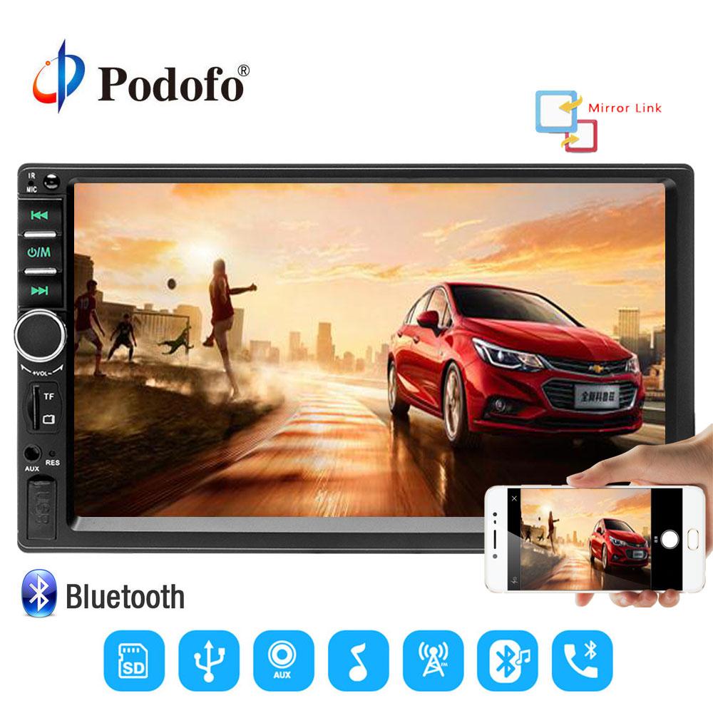 Podofo 2 Din Car Radio 7 Touch Autoradio MP5 2din Touch Screen Bluetooth Handsfree Rear Mirror