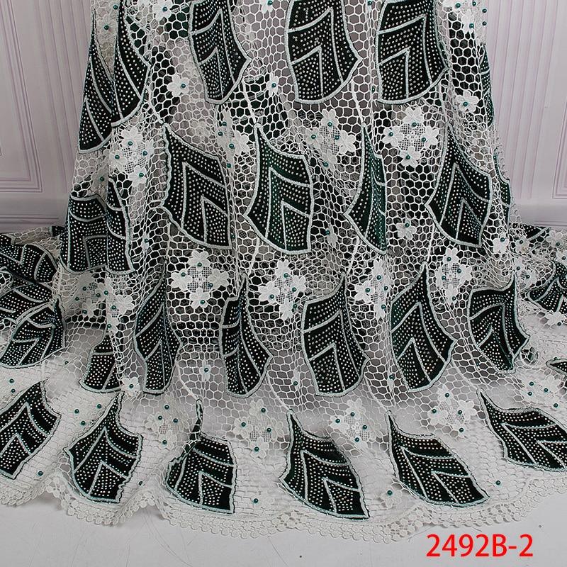Wysokiej jakości tkanina z francuską koronką 2019 ostatnie afryki gipiury koronki tkaniny z haftem koronki tkaniny dla kobiet sukienka APW2492B w Koronka od Dom i ogród na  Grupa 3