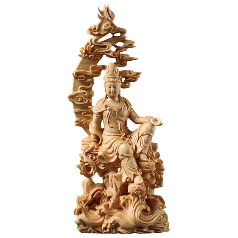 18cm Wooden spray Guanyin bouddha figure Chinese style figure Buddha statue Eastern folk wood buda carving