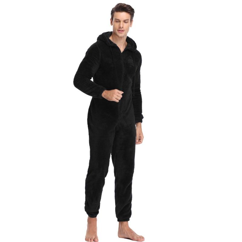 Men Plush Teddy Fleece Pajamas Winter Warm Pyjamas Overall Suits Solid Color Sleepwear Kigurumi Hooded Pajama Sets For Adult Men