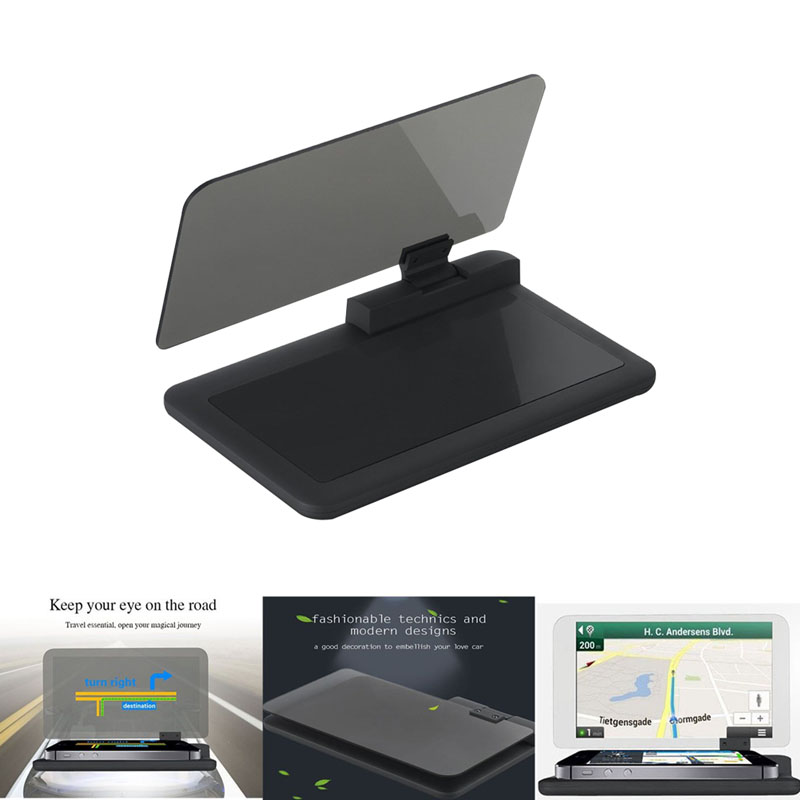 H6 Universal Car GPS Navigation HUD Head Up Display Holder Smartphone with Transparent Reflection Film Non