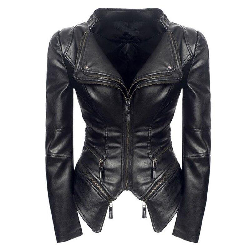 Warm coat women Autumn Winter fashion black motorcycle jacket imitation   leather   clothing PU   leather   jacket gothic jacket