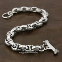 Solid 925 Sterling Silver Handmade Mens Biker Rocker Punk Bracelet 8H011 Free Shipping