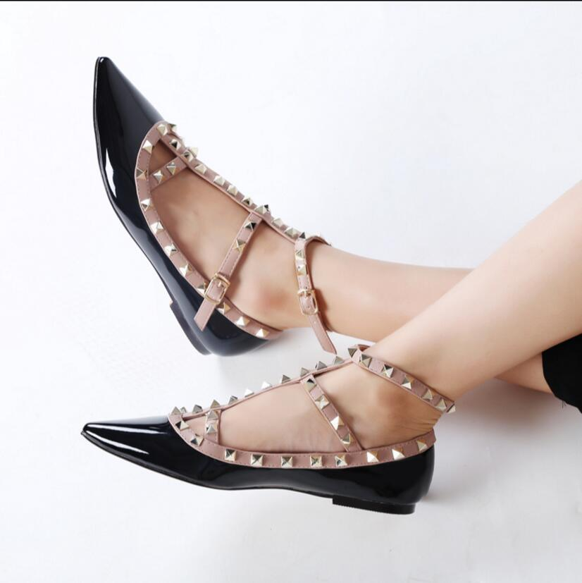sexy Patent leather sandals female summer sexy sandals women Pointed toe shoes Casual Ladies fashion pumps sandals  size 34-42 new 2017 spring summer women shoes pointed toe high quality brand fashion womens flats ladies plus size 41 sweet flock t179