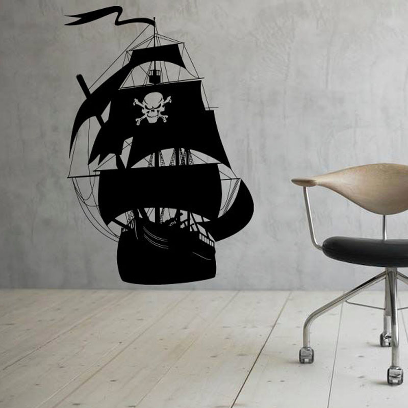 Dctop New Arrival Pirate Ship Wall Stickers Living Room Removable