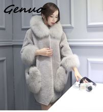Autumn winter fashion warm 2019 autumn and fur new Korean version of the one ladies long section fake cashmere