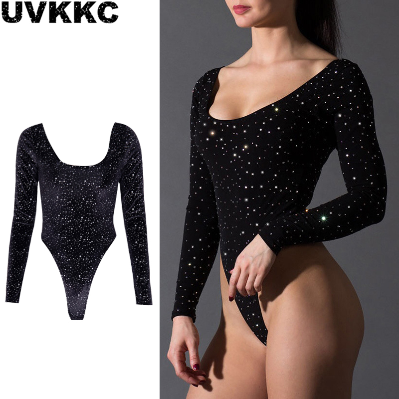 Uvkkc Girls Horny Bodysuit 2019 Spring Feminine Rompers Diamond Backless Bodycon Skinny Informal Stable Get together Black Bodysuit For Girls
