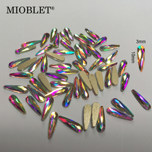 10Pcs Crystal AB Colorful Flame Nail Gems HotFix Art Rhinestones Clear Crystals DIY Flatback Nails Decorations Stones