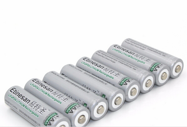 8pcs/lot ETINESAN 3.2V 600mAh LiFePO4 lithium li-ion AA Rechargeable Battery instead 1.5v aa battery Used for flashlight
