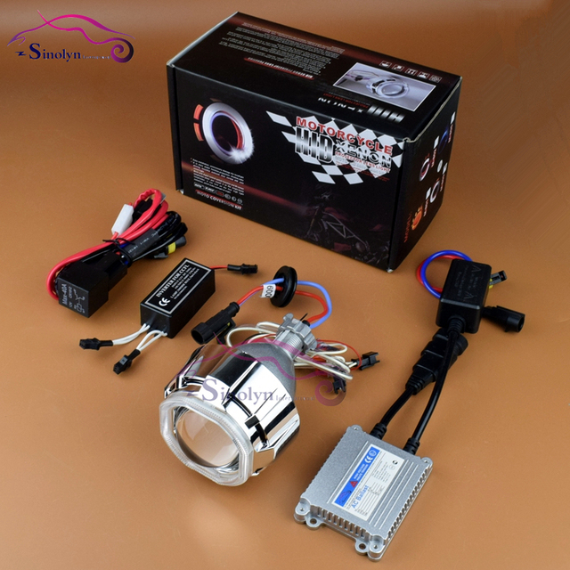 2016 Motorcycle Headlight 35W AC Square Double CCFL Angel Eye Halo HID Bi xenon Projector Lens Retrofit Xenon Headlamp Full Kit