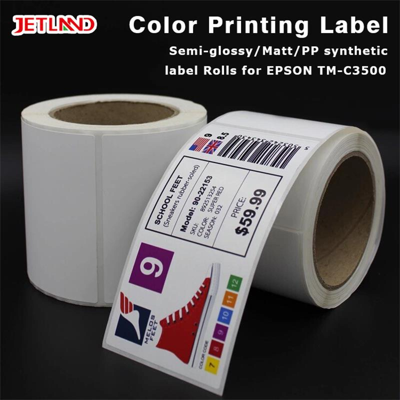 "Jetland Glossy inkjet Synthetic  Label rolls  for Primera  LX2000 / EPSON 3500 labels 4x3"" -  102mm x 76mm-500 Stickers"