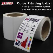 """Jetland parlak mürekkep püskürtmeli sentetik etiket rulo Primera LX2000 / EPSON 3500 etiketleri 4x3 """"   102mm x 76mm 500 çıkartmalar"""