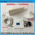 Display LCD Branco Ganho 65dB Dual Band Telefone Móvel 2G 3G Reforço de sinal GSM 900 mhz W-CDMA 2100 mhz Repetidor de Sinal Amplificador