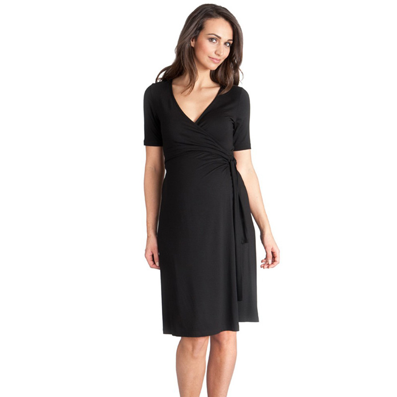 Lycra Summer Knee-Length Short Sleeve Maternity Dresses V-Neck Elegant Maternity Clothes Pregnancy Clothing Office Lady Vestidos ...