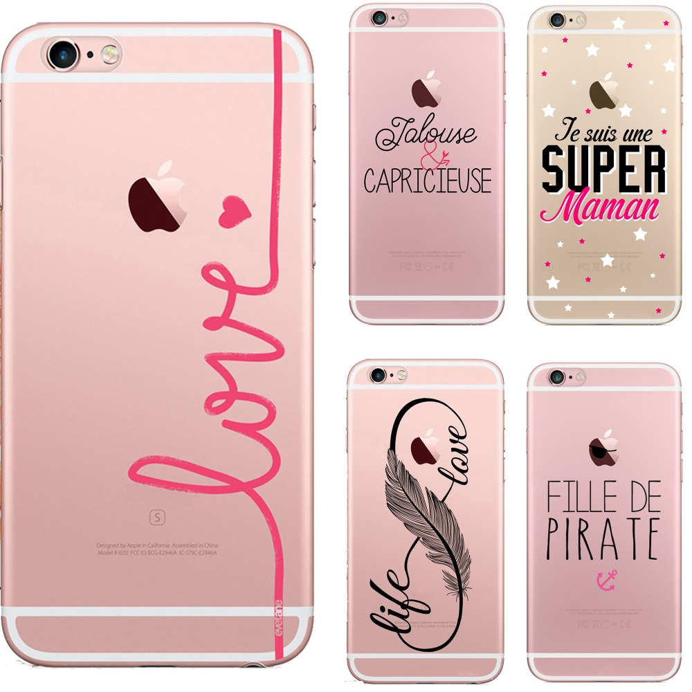 phone case Interesting French words pirate love rose life soft silicone TPU coque cover for iPhone 5 5S SE 6 6S 6plus 7 7plus
