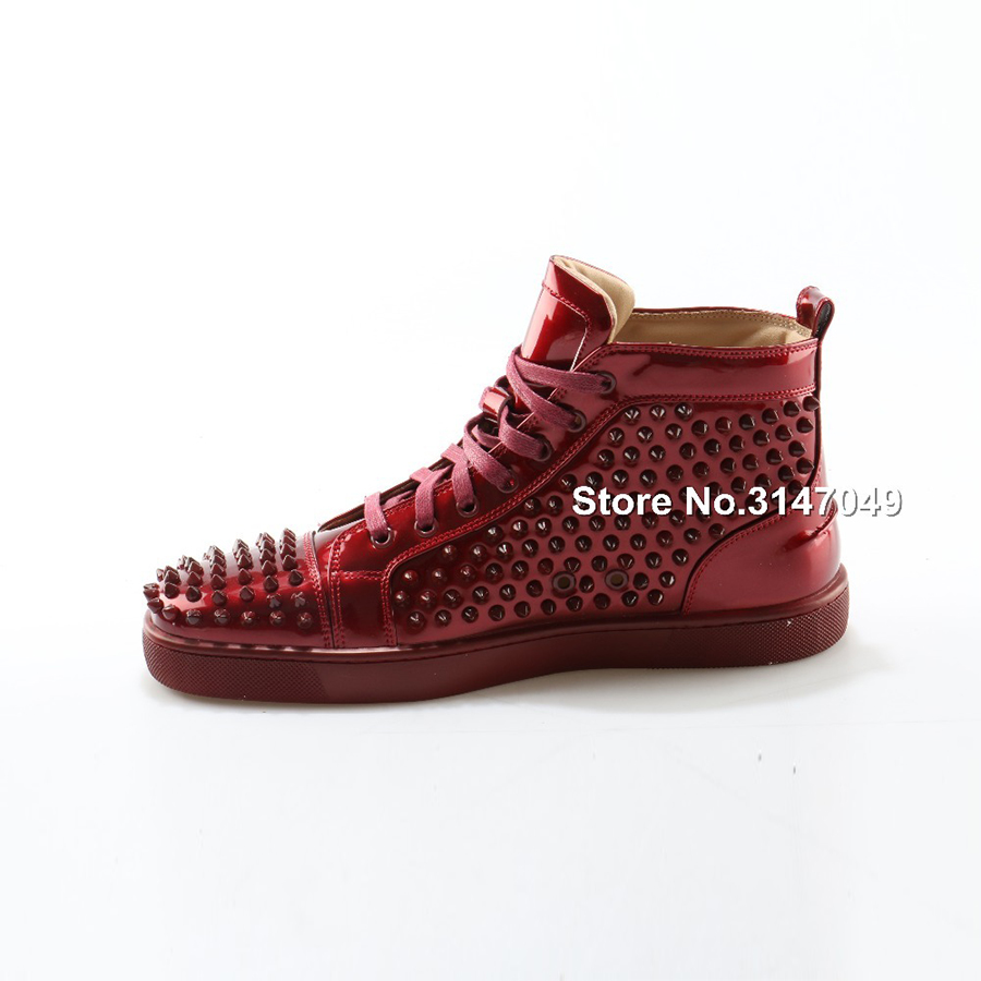 OKHOTCN 2018 nouveaux hommes chaussures décontractées en cuir verni rouge crampons chaussures cloutées étoiles haut de gamme Rivet mocassins à lacets Zapatos Hombre - 5
