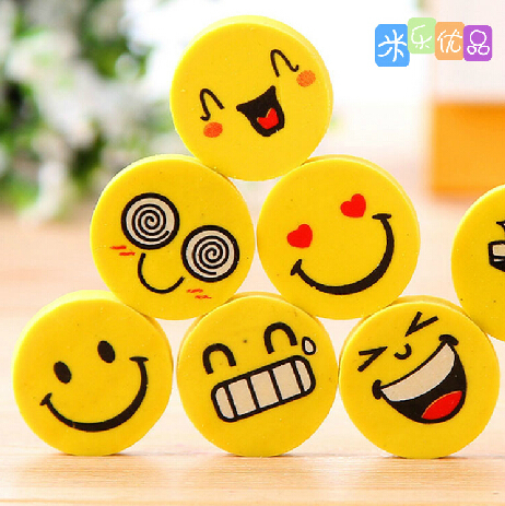 4 Pcs/lot Mini Cute Cartoon Kawaii Rubber Smile Face Eraser For Kids Gift School Supplies Korean Papelaria Free Shipping 857
