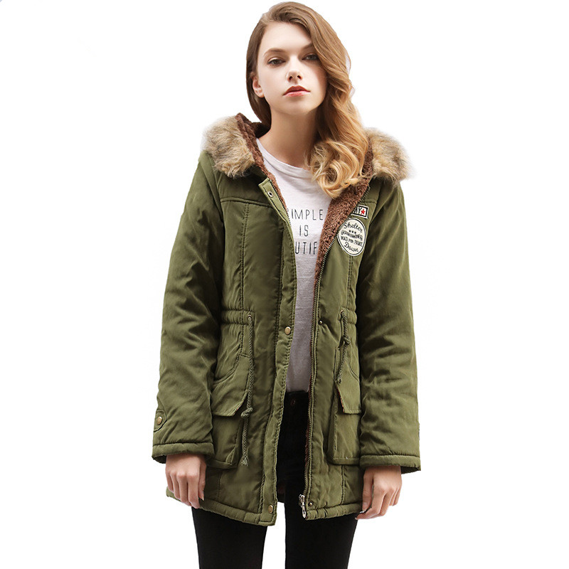 Women New Winter Jacket Solid Color Parkas Casual Outerwear Military Hooded Coat Fake Fur Coats Manteau Femme Jaqueta MZ1804 indjxnd winter woman jacket women parkas casual clothing thick outwear hooded coat imitation femme fox fur coats manteau loose