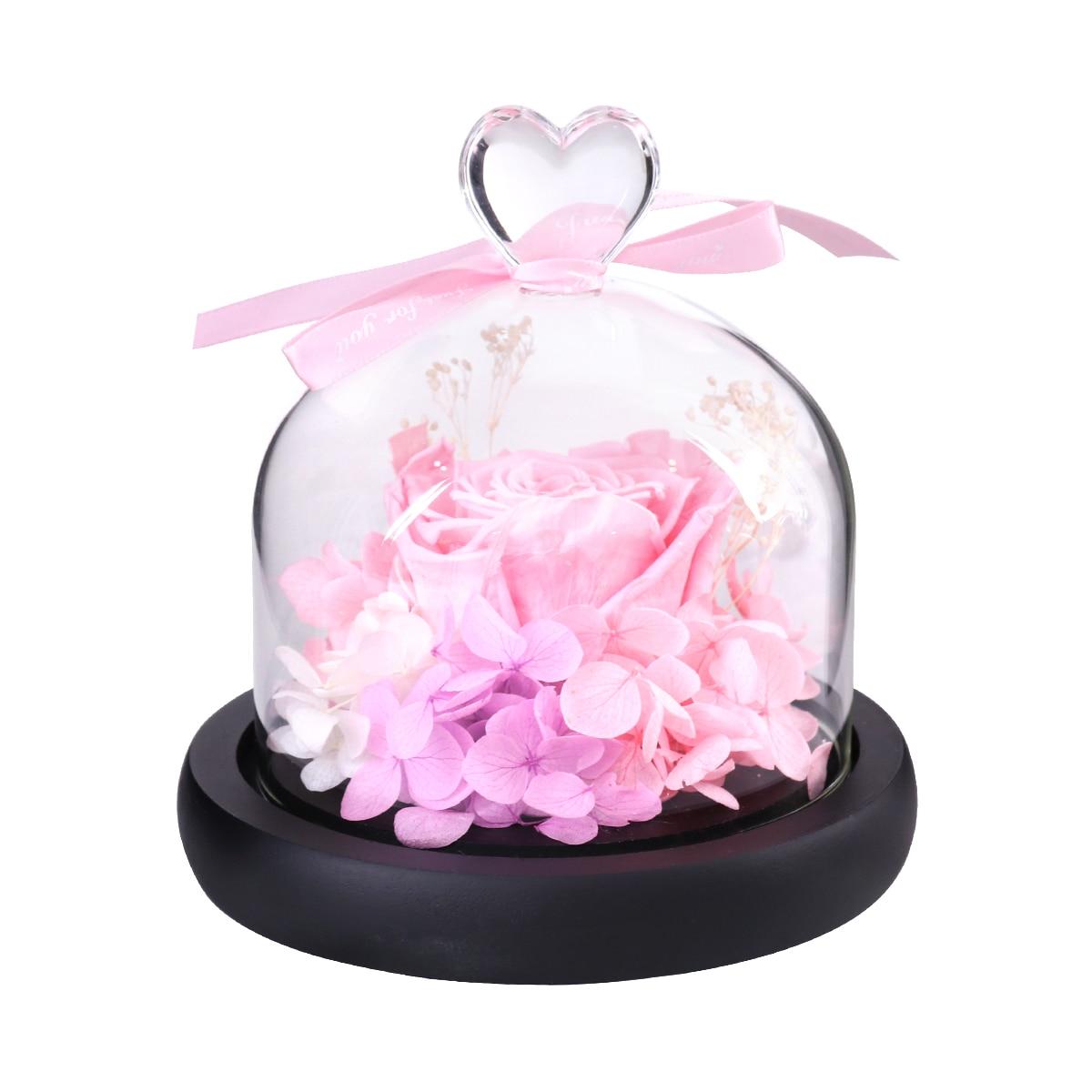 Искусственный цветок розы в четких Стекло купол для дома свадебный Декор Валентина День  ...