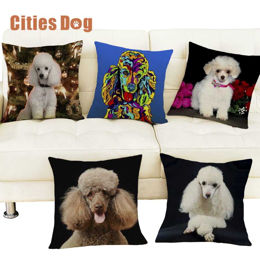 christmas decorations for home pillows cushion cover Miniature Poodle dog Pillowcase dakimakura almofada Animal sofa cojines