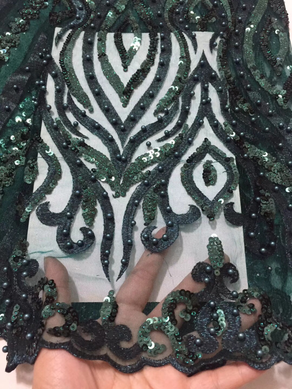 Novelty 3D French lace With Sequins And Beaded 5 Yards lot 2018 Latest Design Green African