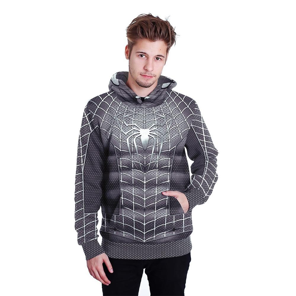 Hoodies Spiderman 3D Print Hoodies with Hat Men Hoodie Loose Hooded Sweatshirt Sudaderas Para Hombre Streetwear