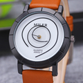 Unique pointer design Women Watch MILER Top Brand Leather Men Quartz Watches Youth style Student Watch relogio Reloj mujer Hours
