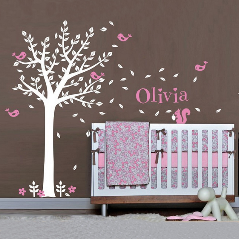 Nursery Tree Custom Name Flower Wall Stickers Squirrels Birds Wall Art Decal Vinyl Baby Kids Rooms Decorations Home Decor