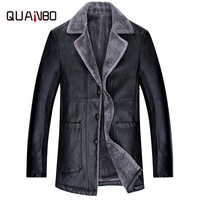 2018 winter warmth Mid length daddy coat Plus velvet thickening Fur one Suit leather Business travel Black leather jacket