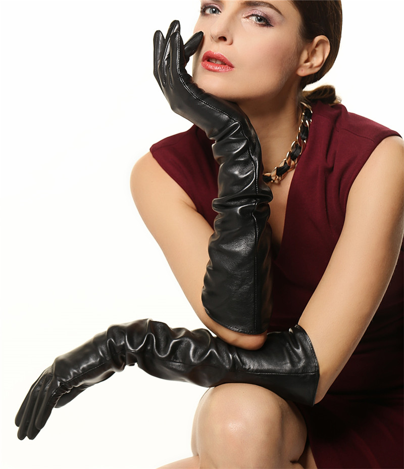 46912db1e0b5b WARMEN ladies Opera Long Genuine Soft Nappa Leather Gloves Black-in Women s  Gloves from Apparel Accessories on Aliexpress.com
