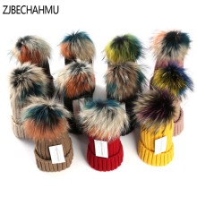 Hats Winter Real Fox Fur Pompoms 15cm Hat Warm Skullies Beanies Hat Caps Women Girl Fashion Colorful Raccoon 2018 New