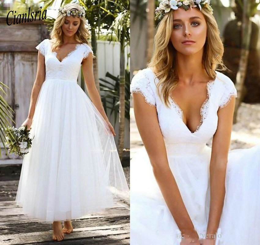 Simple A-Line Short Wedding Dress 2020 Lace V Neck Short Sleeve Vestido De Noiva Elegant Tulle Ankle Length  Wedding Gowns