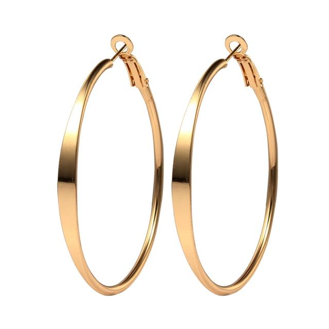 European Gold Color Hoop Earrings Bali Circle Earring Handmade Punk