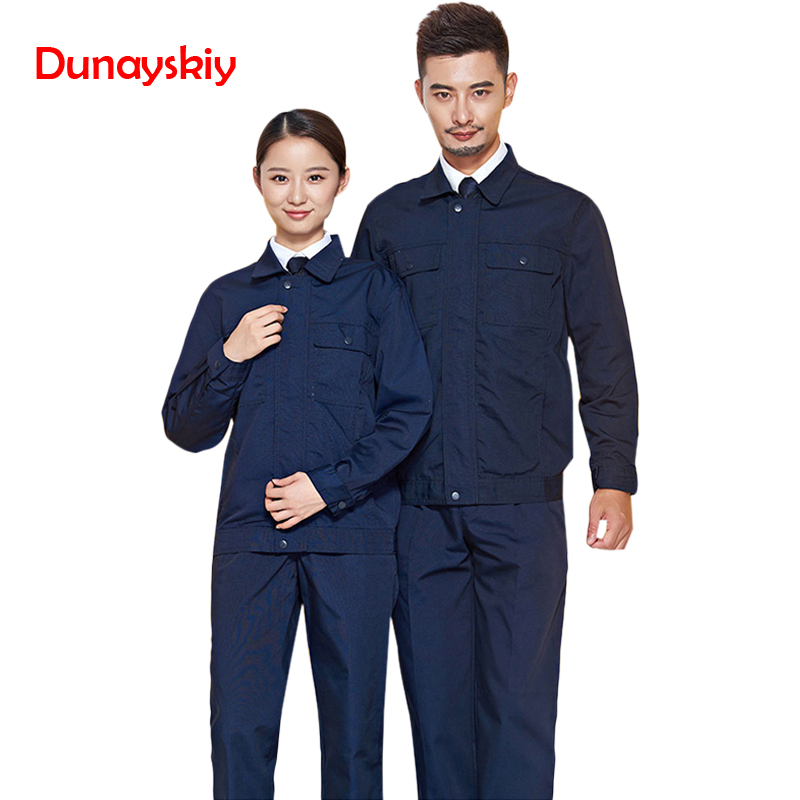 Long-sleeved Overalls Suit Autumn Spring Canvas Blue Factory Workshop Men's Shirt Wear-resistant Fashion 2020 New Workshop