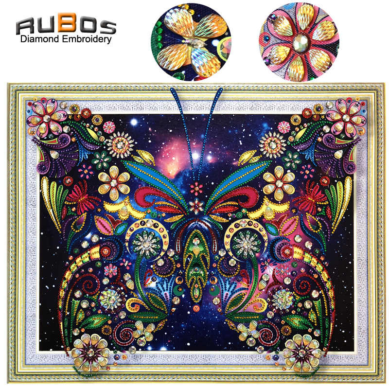 RUBOS DIY 5D Diamond Mosaic Butterfly Flower Art Diamond Embroidery Painting Sale Picture Big Crystal Rhinestone Bead Wall Decor