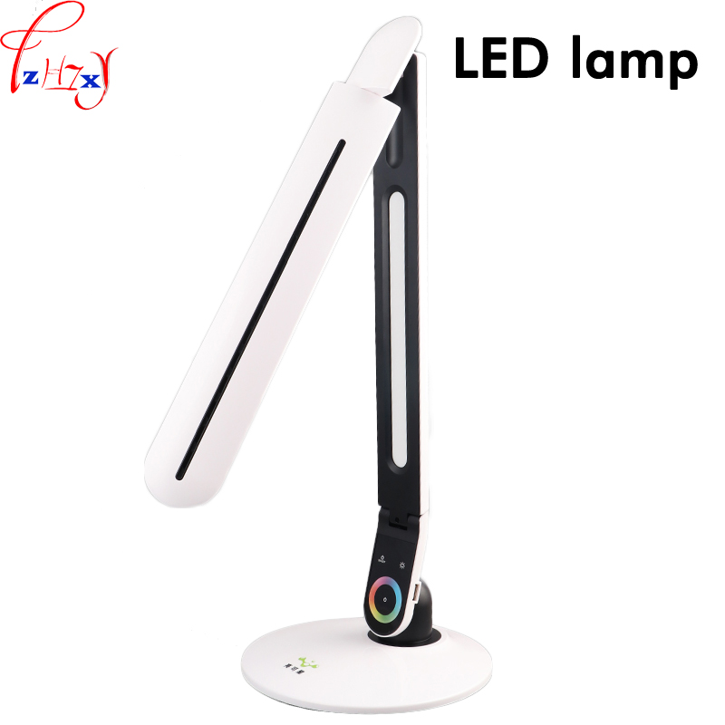 Touch switch LED table lamp adjustment three gears Light eye protection LED reading lamp bedroom bedside lamp 12V 1PC novel art solid geometry bedroom bedside table lamps led table lamp 220v desk lights decor eye protection reading light white