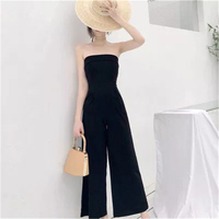New Summer Women's Bodysuits Sleeveless Loose Female Playsuits Casual Strapless Wide leg pants Women Jumpsuits FC 89