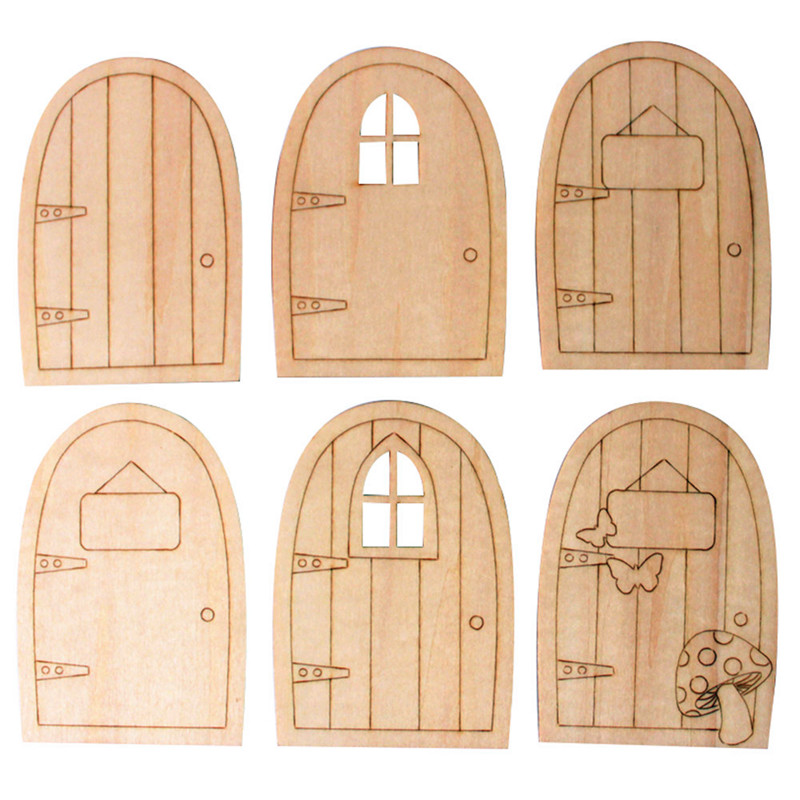 10pcs/Lot DIY Wood Door Laser Cutting Crafts Blank Plaque Decoupage Home Decorations ...