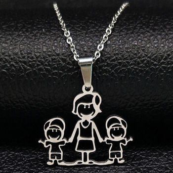 Unisex Family Necklace Jewelry Necklaces Women Jewelry Metal Color: 1mom 2boy
