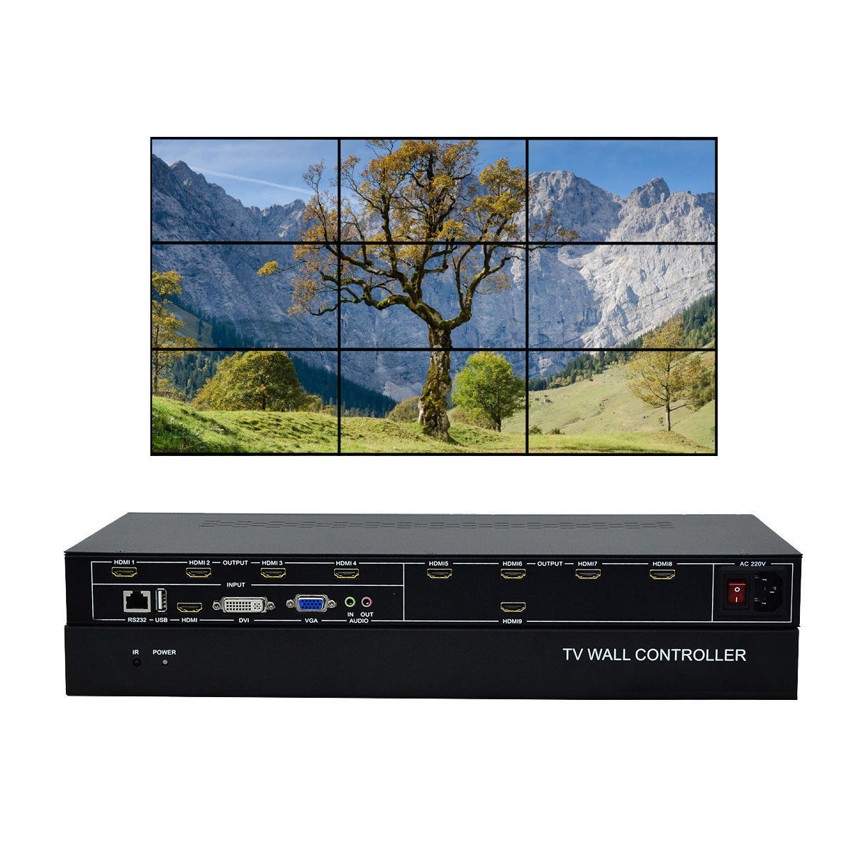купить ESZYM 9 Channel TV Video Wall Controller 3x3 2x4 4x2 HDMI DVI VGA USB Video Processor по цене 63305.67 рублей