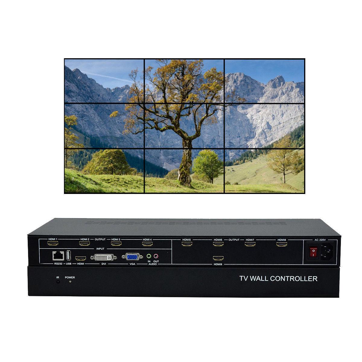 ESZYM 9 canal TV controlador de pared de vídeo 3x3 2x4 4x2 HDMI DVI VGA USB procesador de vídeo