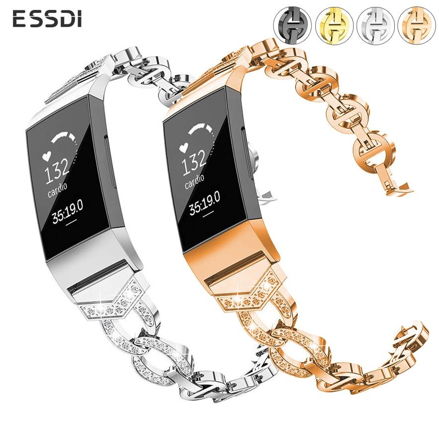 213fd3e9a05a Essidi para Fitbit Charge 3 pulsera inteligente Correa Acero inoxidable  Bling mujeres reloj banda ...