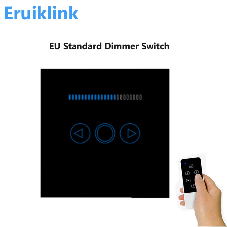 EU Type Dimmer Switch, Touch Panel Wireless RF433 Remote Lamp,Wall Light Dimmer Switch Work with Broadlink Rm Pro, White/Black