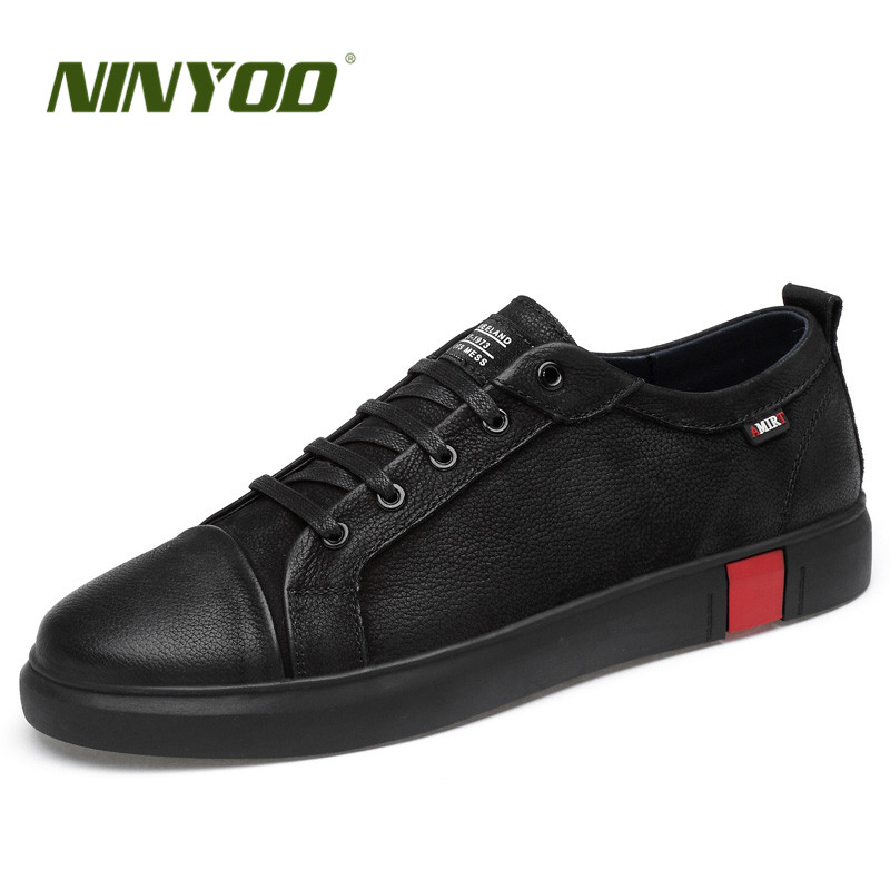 NINYOO New Fashion Men Shoes Genuine Leather Casual Shoes Wearproof Black Shoe High Quality Students Flats Shoes Plus Size 36-46 breathable spring plus size 37 to 48 men flats shoes luxury fashion mens casual shoe high quality genuine leather shoes for man