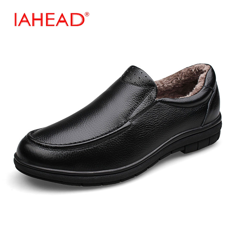 IAHEAD Men Genuine Leather Shoes Winter Flats Casual Shoes Inside Fluff Slip-On Loafers Shoes Plus Size 38-46 MH599 dxkzmcm new men flats cow genuine leather slip on casual shoes men loafers moccasins sapatos men oxfords