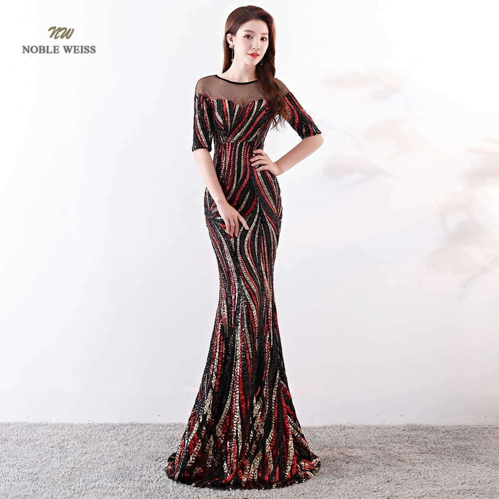 Evening Dresses Long O neck Colorful Prom Dress Robe De Soiree Formal Dresses Evening Gown with