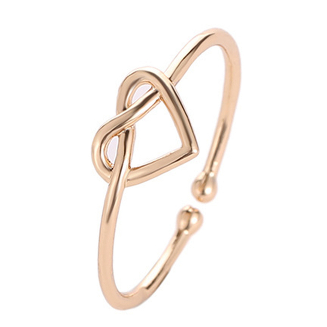 Fashion Adjustable Love Heart Knot Women's Ring