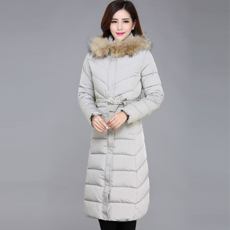 Warm High Quality Women Parkas Winter Cotton Padded Jacket Long Cotton Coat With Belt Plus Size Ladies Clothing Female Outerwear high quality women winter parkas 2017 new fashion female medium long loose cotton padded wadded jacket coat plus size 3xl cm1392